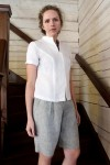 knee-length linen shorts