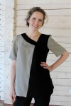 Two colour linen tunic top