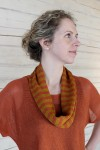 Striped knitted linen infinity scarf
