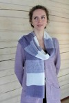 Long linen striped knitted scarf