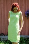 green sleeveless linen dress