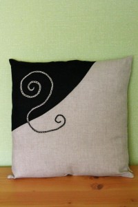 Two colour embroidered linen cushion cover