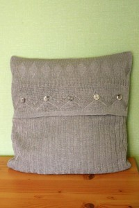 Pattern knitted linen cushion cover
