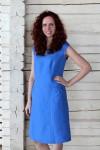 Melsva lininė suknelė su trumpomis rankovėmis