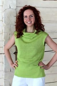 Knit Sleeveless Linen Blouse