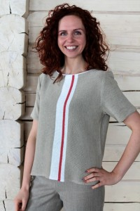 Short-Sleeve Knitted Linen Blouse