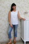 White Linen Sleeveless Top With Laces