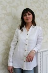 Balti moteriški lininiai marškiniai