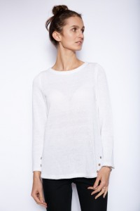 Knitted linen top in white