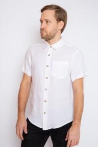 White linen mens shortsleeve shirt