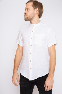 Linen mens shirt with stand up collar