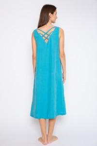 Long linen open back dress