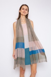Long knitted linen scarf