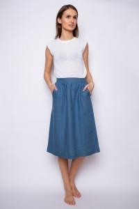 Lininis sijonas su kišenėmis